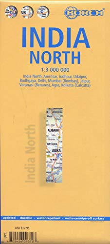 India North, Nordindien, Borch Map: India North, Amritsar, Jodhpur, Udaipur, Bodhgaya, Delhi, Mumbai (Bombay), Jaipur, Varanasi (Benares), Agra, Kolkata (Calcutta) (Borch Maps) von Borch