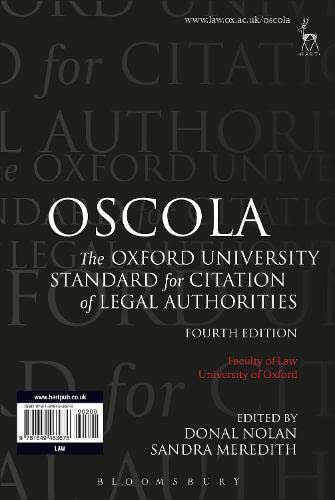 OSCOLA: The Oxford University Standard for Citation of Legal Authorities