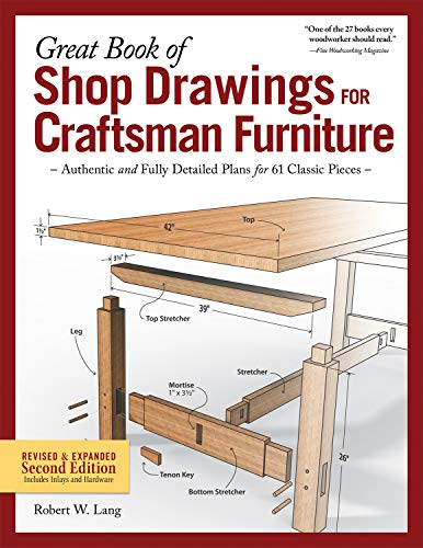 Great Book of Shop Drawings for Craftsman Furniture: Authentic and Fully Detailed Plans for 61 Classic Pieces von Fox Chapel Publishing