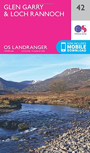 Glen Garry & Loch Rannoch 1 : 50 000 (OS Landranger Map, Band 42) von ORDNANCE SURVEY
