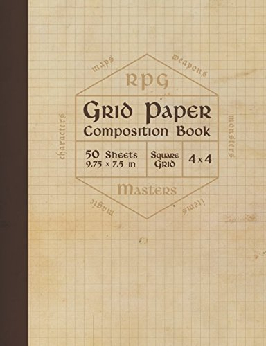 RPG Grid Paper Composition Book: Blank Quad Ruled Graph Paper for Role Playing Games (50 sheets, thick 60 lb cream paper, 1/4 inch squares, 9.75 x 7.5) von Independently published