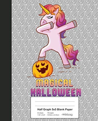 Half Graph 5x5 Blank Paper: Book Dabbing Unicorn Pumpkin Halloween von Independently published