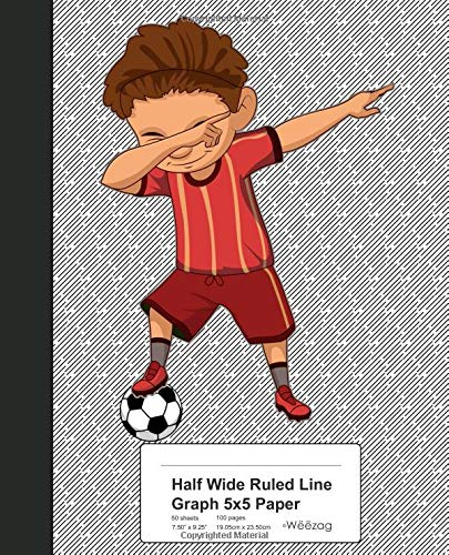 Half Wide Ruled Line Graph 5x5 Paper: Dabbing Soccer Boy Book von Independently published