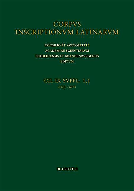 Corpus inscriptionum Latinarum: Vol IX/Suppl. 1, Fasc 1 Samnites et Frentani