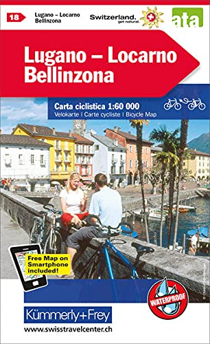 Lugano - Locarno - Bellinzona Velokarte Nr. 18: 1:60000, waterproof, Freemap on Smartphone included (Kümmerly+Frey Velokarten) von Hallwag Kümmerly & Frey