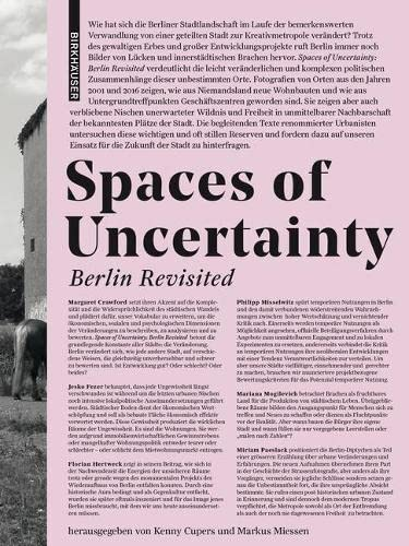 Spaces of Uncertainty - Berlin revisited: Potenziale urbaner Nischen